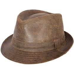 Classic Italy - Sombrero trilby cuero hombre Classic Trilby Cuir Vieilli - talla 55 cm - marron