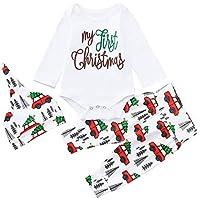 Chandal Bebe Niño,Abrigo Bebe Niña,Infant Baby Boys Girls Cartoon Letter Print Navidad Xmas Mameluco Pantalones Trajes