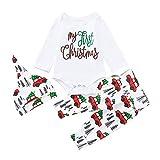 URSING Infant Baby Jungen Mädchen Cartoon Brief drucken Weihnachten Strampler Spielanzug Body Hosen Outfits Dreiteiligen Anzug Festliche Kindermode Babykleidung Weihnachten Geschenk