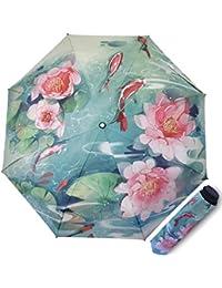Parapluies pliants Ombrelle Protection UV Parapluie pour Les Femmes Créatif Imprimé en 3D Parasol Triple Pliant 190T Parasols 8 Bones Mesdames
