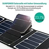 RAVPower 24W Solarladegerät mit 3 USB iSmart-Port (SUNPOWER® Solarzellen, 21,5-23,5% Umwandlungseffizienz, leicht, faltbar, wasserdicht) für Camping Wanderung Bergsteigerei für iPhone 6S, 6S Plus, 6, iPad Pro, Samsung Galaxy S7, S7 Edge, HTC, Motorola usw. - 2