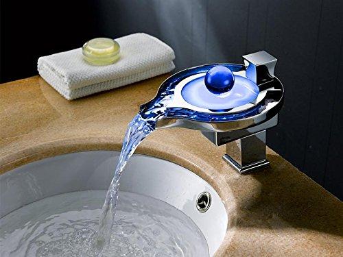 Lonfenner Led Farbtemperatur Wechselnde Warme Und Kalte Kupfer Wasserfall Bad Waschbecken Wasserhahn. Wasser Stromerzeugung -