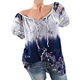OYSOHE Damen T-Shirt, Spitze Gedruckte Kurzarm V-Ausschnitt Tops Lose T-Shirt Bluse (3XL, Lila)