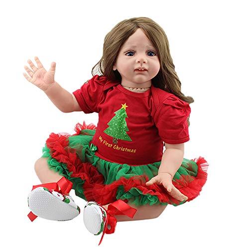 Bescita Reborn Baby Doll  Mädchen Lebensechtes Kleinkind Silicon Outfit 60cm Realistische Baby Spielzeug Soft Vinyl Silikon Xmas Present