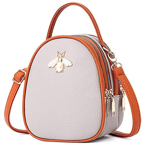 Hypasa Frauen Casual Small Crossbody Bag Mini Leder Shoulder Tasche Handtasche Cute (Hellgrau) -