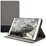 kwmobile Canvas Hülle für Huawei MediaPad M3 8.4 mit Ständer - Leinen Tablet Case Cover Tasche Schutzhülle in Grau Schwarz