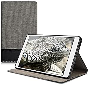 kwmobile Elegante custodia in tela ecopelle per Huawei MediaPad M3 8.4 in grigio nero con pratica FUNZIONE DI SUPPORTO