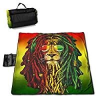 "Rastafarian Rasta Lion Extra Large Picnic Blanket 57""x59"" Outdoor Water Resistant Sand Free Multipurpose Beach/Camping/Picnic Blanket Mat Tote Bag for Travel Picnic Hiking"