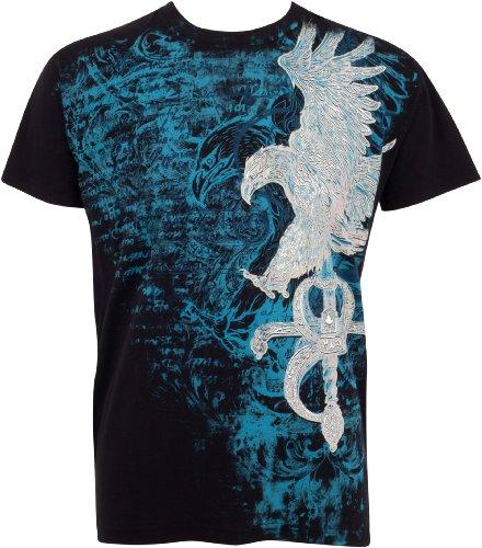 Sakkas Eagle and Swoderd Metallic T-Shirt aus Baumwolle für Männer Schwarz