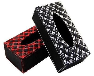 TISSUE BOX COVER HOLDER BRAIDED PADDED BLACK OR RED CAR MOTORHOME HOME VAN AC41