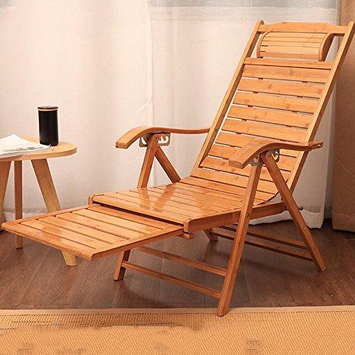 DEO Fauteuils inclinables Chaises longues en bambou Chaises longues de patio de salon de pliage Chaises longues extérieures réglables de 6 niveaux avec le coussin