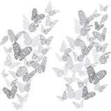 72 Piezas 3D Mariposas Pegatinas de Pared Adornos de Pared Decoración de Arte Juego de Pegatinas 3 Tamaños para Habitación Casa Guardería Aula Oficinas Dormitorio de Niño Niña Baño Sala (Plateado)