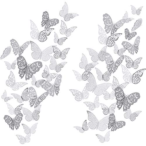 72 Stücke 3D Schmetterling Wandtattoo Aufkleber Wandtattoo Dekor Kunst Dekorationen Aufkleber Set 3 Größen für Zimmer Hause Kindergarten Klassenzimmer (Silber)