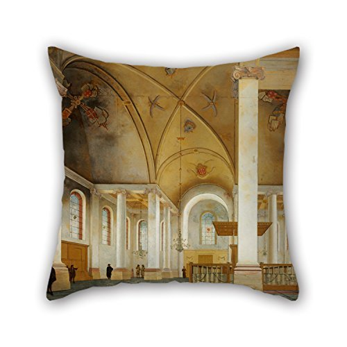 NICEPLW Pillow Cases Of Oil Painting Pieter Saenredam - The Nieuwe Kerk In Haarlem,for Kitchen,divan,kids Room,lover,lounge,bar Seat 18 X 18 Inches / 45 By 45 Cm(each Side)