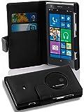 Cadorabo - Book Style Hülle für Nokia Lumia 1020 - Case Cover Schutzhülle Etui Tasche mit Kartenfach in OXID-SCHWARZ