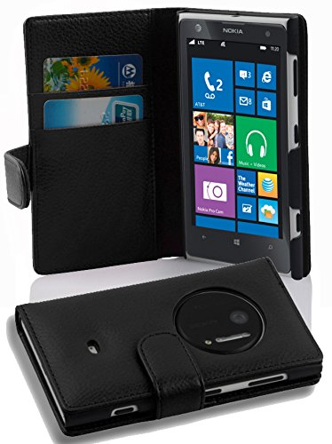 Cadorabo Schutz Hülle für Nokia Lumia 1020 mit Kartenfächern im Book Design in schwarz