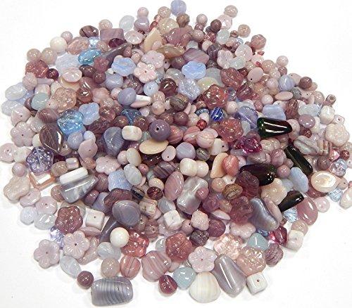 50g Boehmisches Glasperlen Lila Violett Mix Rund Würfel Oval Set PRECIOSA TSCHECHISCHE Kristall Perlen Set, Basteln Schmuck set 8mm bis 20mm A GRADE CZ471 (50) -