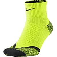 Nike Elite Running Cushion Qtr Calcetines, Unisex adulto, Lima/Gris (Volt/Anthracite/Anthracite), 38.5-40.5