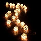 FRE 3M Sturm cremeweiß 20 Rattan-Ball Lichterkette String Lights -