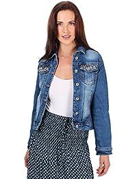 KRISP® Femmes Veste en Jeans à Fleurs Brodée et Strass Classique Tendance