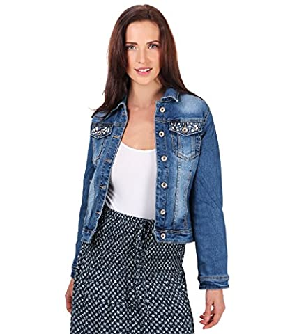 4675-BLU-08: Beaded Pockets Crop Denim Jacket