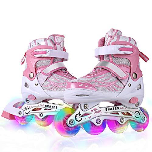 Profun Inline Skates Kinder Damen/MäDchen Verstellbar Rollschuhe Rosa Größe 39 40 41