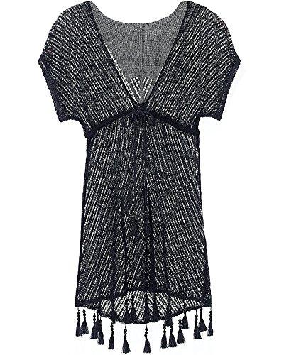 Damen Kurzarm durchbrochene Spitze Kleid Quaste Bikini außerhalb Kittel Tuniken Strandkleid Schwarz