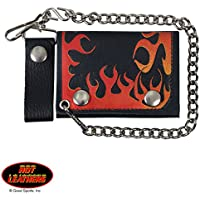 ORANGE FLAME, Detachable Chain & Leather Belt Loop Snap, Bikers