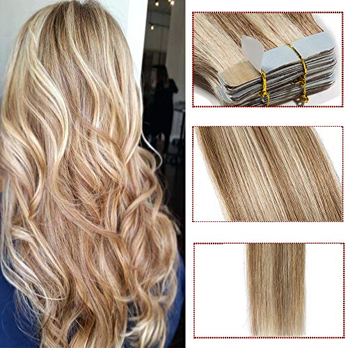 Tape in hair extension adesive capelli veri- 60cm 100g 40 fasce #12/613 marrone chiaro/biondo chiarissimo- 100% remy human hair lisci