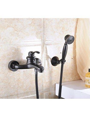 AQUAfaucet Olio strofinato bronzo montaggio a parete palmare doccia rubinetto miscelatore doccia rubinetto set maniglia singola a schermo piatto
