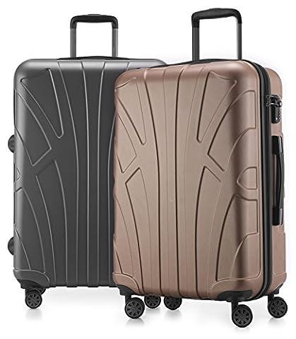 Suitline - 2er Koffer-Set Trolley-Set Rollkoffer Hartschalen-Koffer Reisekoffer, TSA, 66 cm, 100% ABS, Matt, Gold / Silber