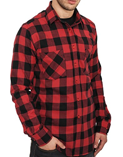 Urban Classics - Lumber Check Shirt - Schwarz Rot Schwarz Rot