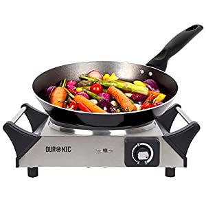 Duronic HP1SS Stainless Steel Single Table Top Hot Plate/Boiling Hob with Handles + 2 Years Warranty