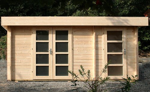 Gartenhaus ORIENTAL IV Blockhaus 470x320cm - 40mm - Inkl. Fußboden+Verglasung Gartenlaube Holzhaus Holzlaube
