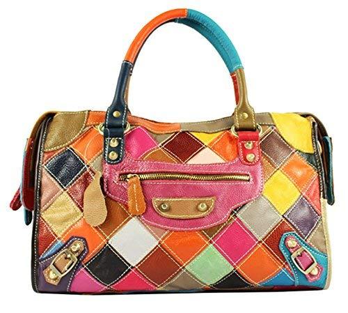 S-Kiven Mehrfarben Patchwork Echtledertasche Handtasche Schultertasche Umhängetasche Hobobeutel
