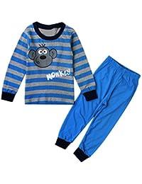SMARTLADY 2-7 año Bebe Niño Camiseta de Manga larga Patrón de mono+ Pantalones Pijamas Ropa Otoño Invierno