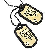 COOLSTEELANDBEYOND Klassischer Kupfer Gold Zwei Stücke Herren Militär Armee Dog Tag Anhänger mit Schwarz Silikon, 70cm