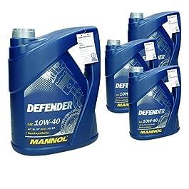 4 x 5 L 10W 40 Olio Motore Defender 20 L Parzialmente Sintetico Benzina e Diesel Olio per Motore Benzina o Diesel 10W-40…