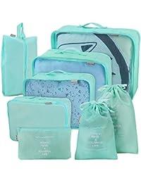Joyoldelf Juego de 8 Esencial Bags-in-Bag Embalaje Cubos de Viaje, Upgraded Maleta Equipaje Organizador Bolsas de Almacenamiento para seco de Ropa, Zapatos, Ropa Interior, cosméticos