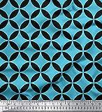 Soimoi Blau Baumwolle Ente Stoff Kreis Kunst geometrisch
