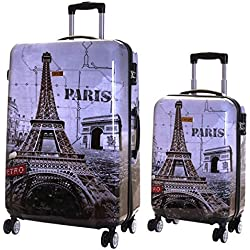 Karabar Valise Rigide à roulettes pivotantes de qualité supérieure avec Serrure TSA intégrée - Ensemble Lot de 2 valises rigides pièces, Falla Paris