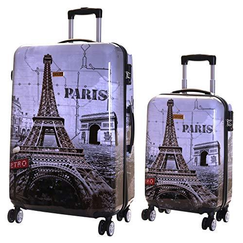 Karabar set di 2 trolley bagaglio a mano e da stiva valigie rigida leggera xl 76 cm 4,5 kg 100 l s 55 cm 2,5 kg 35 l con rotelle pivotanti e lucchetto tsa integrato, falla paris