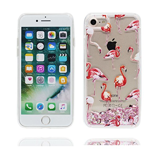 """iPhone 7 Coque, Skin Hard Clear étui iPhone 7, talon hauts Design Glitter Bling Sparkles Shinny Flowing Apple iPhone 7 Case Cover 4.7"""", résistant aux chocs Grand Flamant"""