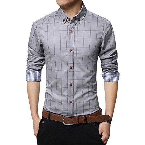 Zicac, camicia da uomo, in puro cotone mercerizzato, stile inglese, elegante, aderente, a maniche lunghe, fantasia scozzese, colletto turn-down con bottoni Grey