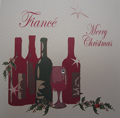 WHITE COTTON CARDS Verlobte Merry Christmas handgefertigt Wein Karte