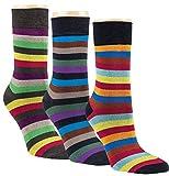 gigando Striped Colorful Bamboo Socks for Ladys | Bambus Socken mit bunten Streifen | Atmungsaktive Strümpfe für Damen | hochwertige Verarbeitung | Geschenkbox | 3 Paar | bunte Ringel |