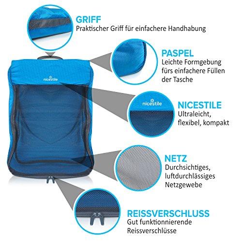 NICESTILE Kleidertaschen Set 4-teilig, Packtaschen, Packwürfel, Packing Cubes, Koffer Organizer, Reisegepäckorganizer, ultra-leicht, durchsichtig (Blau)