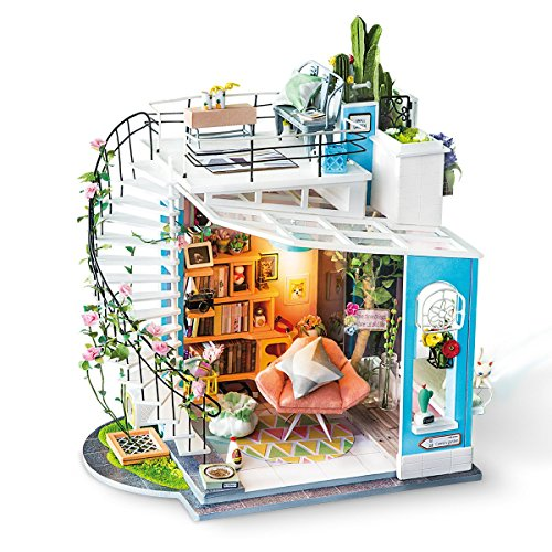 Robotime Kit casa di Bambole in Miniatura Adulti - Camera Carina Regalo per Ragazze di 14 Anni - Portico Modello Casa in Legno (Loft)