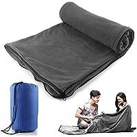 Saco de dormir Liner Forro Polar de microfibra manta de viaje Camping hoja saco de dormir ultraligero con cremallera Cálido amplio acogedor para el hogar ...