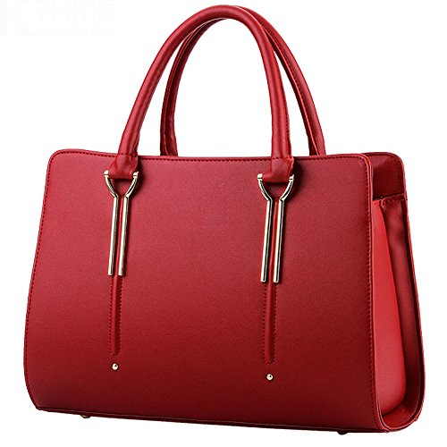 Joyousac Handbag PU Leather Hard Material Fashion Tote Bag For Women Red Red